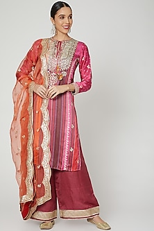 Red Thread Embroidered Kurta Set by GOPI VAID