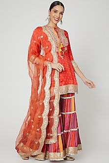 Red Embroidered Sharara Set by GOPI VAID