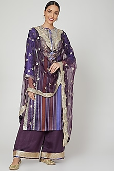 Purple Sequins & Thread Embroidered Kurta Set by GOPI VAID