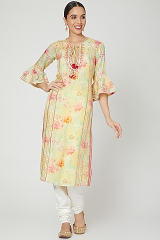 Yellow Floral Printed Tunic by GOPI VAID