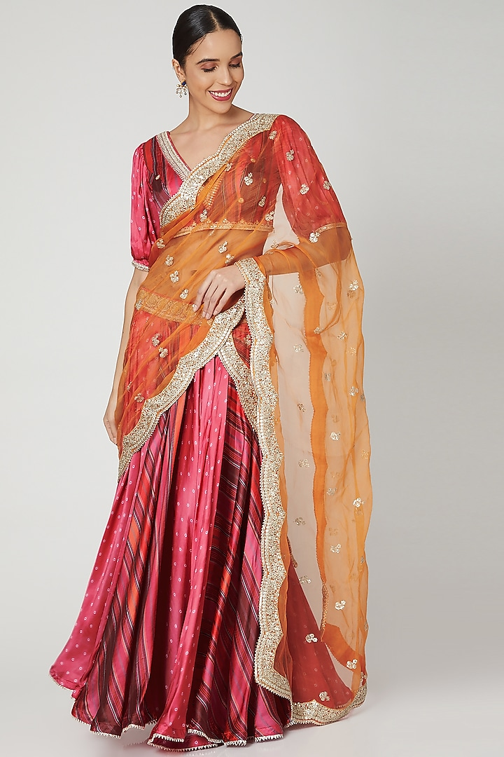 Red Embroidered Lehenga Set by GOPI VAID