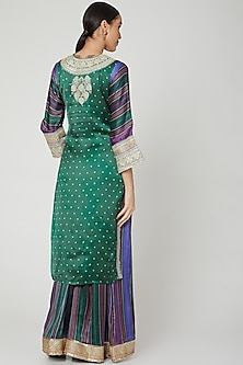 Green & Purple Embroidered Kurta Set by GOPI VAID