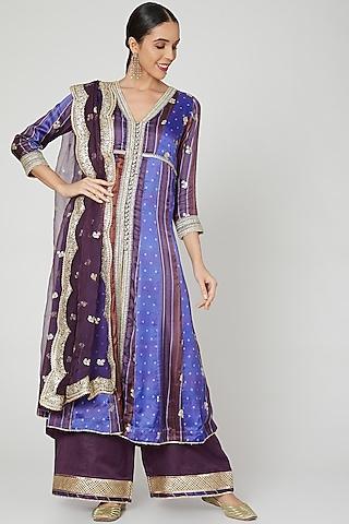 Purple Sequins Embroidered Kurta Set by GOPI VAID