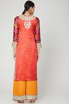 Red & Yellow Embroidered Kurta Set by GOPI VAID
