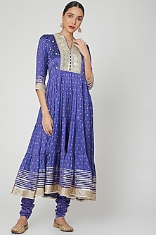 Purple Embroidered Anarkali With Churidaar Pants by GOPI VAID