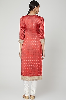 Red Sequins Embroidered Tunic by GOPI VAID