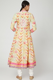 Yellow Embroidered & Printed Anarkali Set by GOPI VAID