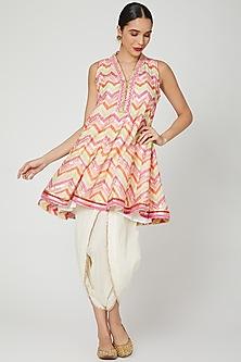 Pink Printed Anarkali With Dhoti Pants by GOPI VAID
