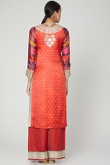 Red Sequins Embroidered Sharara Set by GOPI VAID