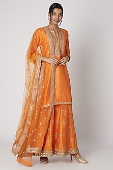 Orange Embroidered Kurta Sharara Set by GOPI VAID