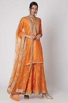 Orange Embroidered Kurta Sharara Set by GOPI VAID