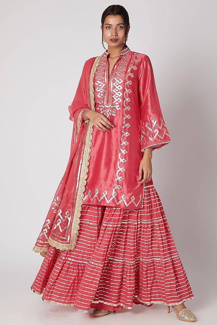 Dark Pink Embroidered Kurta Sharara Set by GOPI VAID