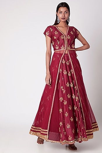 Red Embroidered Lehenga With Jacket by GOPI VAID