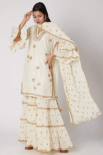 White Embroidered Sharara Set by GOPI VAID