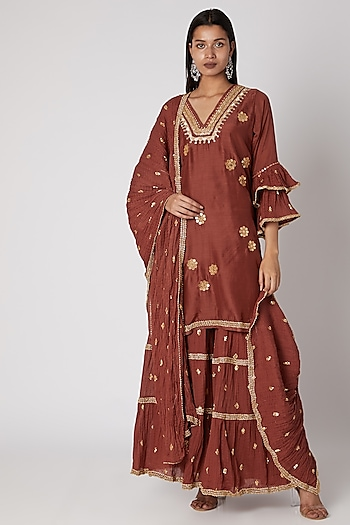 Brown Embroidered Sharara Set by GOPI VAID