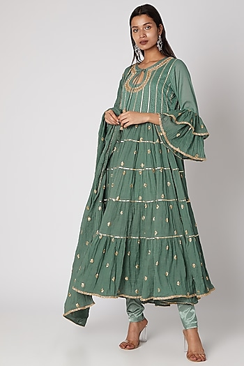 Teal Green Embroidered Tunic Set by GOPI VAID