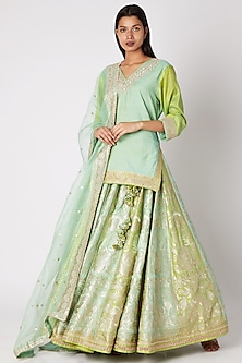 Green Embroidered Lehenga Set by GOPI VAID