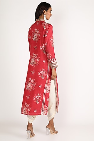 Red & White Embroidered Tunic Set by GOPI VAID