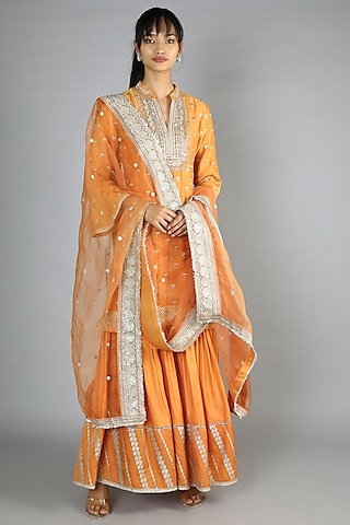 Orange Embroidered Sharara Set by GOPI VAID