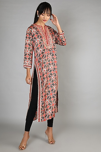 Black Printed Cotton Silk Tunic by GOPI VAID