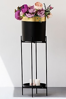 Gold Noir Iron Planter  by The Decor Remedy