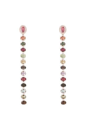 14Kt Gold Two Style Tourmaline & Diamond Dangler Earrings by Golden Gazelle Fine Jewellery