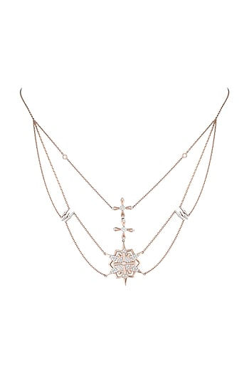 14Kt Rose Gold Supernova Choker Diamond Necklace by Golden Gazelle Fine Jewellery