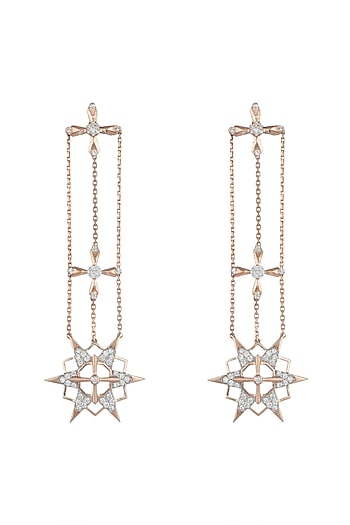 14Kt Rose Gold Supernova Dangling Earrings by Golden Gazelle Fine Jewellery