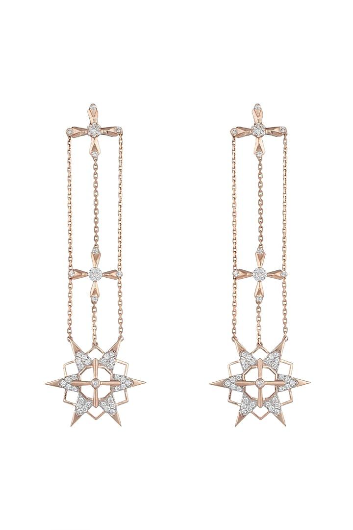 14Kt Rose Gold Supernova Dangling Earrings by Golden Gazelle Fine Jewellery