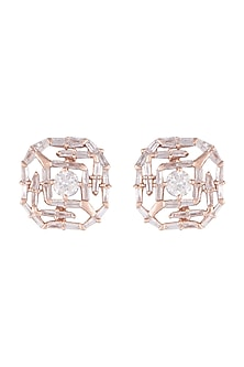 14Kt Rose Gold Solitary Star Diamond Earrings by Golden Gazelle Fine Jewellery