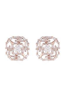 14Kt Rose Gold Solitary Star Diamond Earrings by Golden Gazelle Fine Jewellery