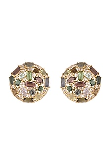 14Kt Gold Vintage Tourmaline & Diamond Stud Earrings by Golden Gazelle Fine Jewellery