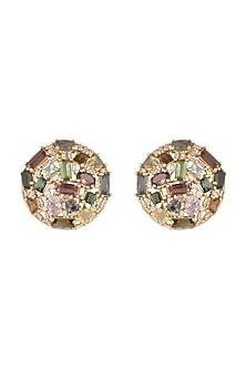 14Kt Gold Vintage Tourmaline & Diamond Stud Earrings by Golden Gazelle Fine Jewellery