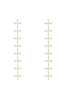 14Kt Gold Crossed Long Diamond Earrings by Golden Gazelle Fine Jewellery