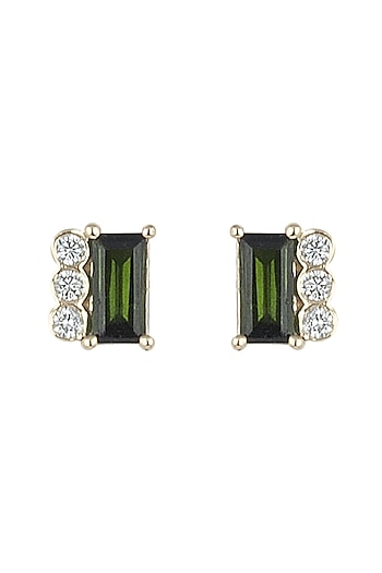 14Kt Gold Mismatched Tourmaline Stud Earrings by Golden Gazelle Fine Jewellery