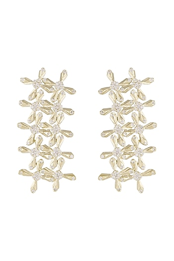 14Kt Gold Star Crossed Diamond Earrings by Golden Gazelle Fine Jewellery