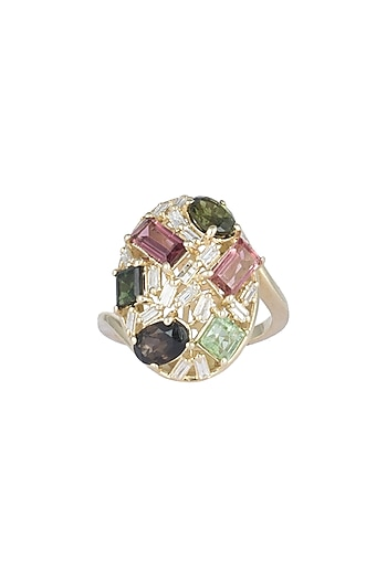 14Kt Gold Vintage Multi Coloured Diamond Ring by Golden Gazelle Fine Jewellery
