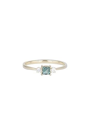 14Kt Gold Blue Princess Tourmaline & Diamond Ring by Golden Gazelle Fine Jewellery