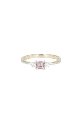 14Kt Gold Pink Princess Tourmaline & Diamond Ring by Golden Gazelle Fine Jewellery