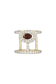 14Kt Gold Double Band Carmine Tourmaline Diamond Ring by Golden Gazelle Fine Jewellery