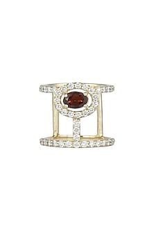 14Kt Gold Double Band Carmine Tourmaline Diamond Ring by Golden Gazelle Fine Jewellery