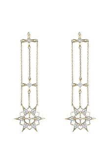 14Kt Gold Supernova Diamond Dangler Earrings by Golden Gazelle Fine Jewellery