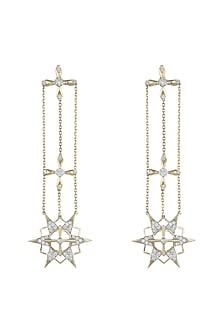14Kt Gold Supernova Diamond Dangler Earrings by Golden Gazelle Fine Jewellery