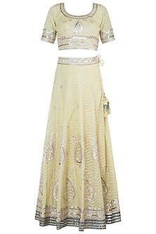 Yellow Embroidered Printed Lehenga Set by GOPI VAID