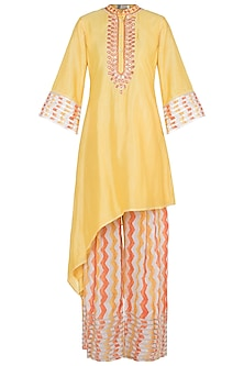 Yellow Embroidered Printed Kurta With Palazzo Pants by GOPI VAID