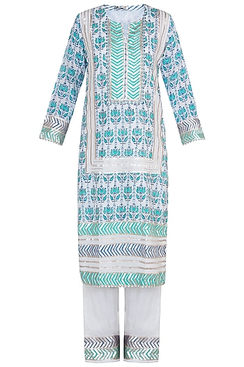 Green & Blue Embroidered Printed Kurta Set by GOPI VAID