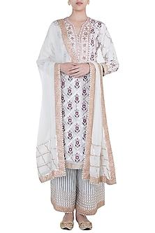 Pink & Grey Embroidered Printed Kurta Set by GOPI VAID
