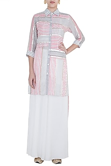 Pink & Grey Embroidered Printed Long Tunic by GOPI VAID