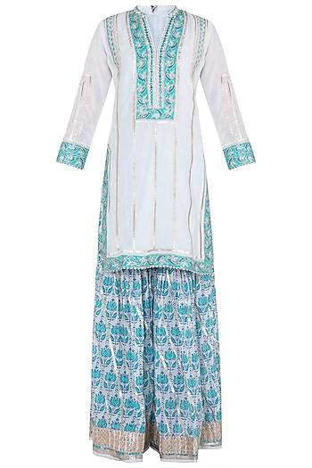 White Embroidered Printed Sharara Set by GOPI VAID
