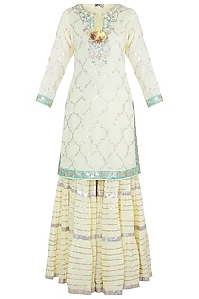 Yellow Embroidered Crinkled Sharara Set by GOPI VAID